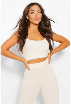 Cream white Premium Fluffy Lounge Crop Top