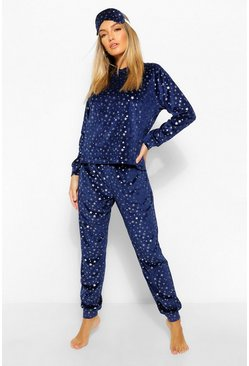 Navy Metallic Star Print Velvet Lounge Set