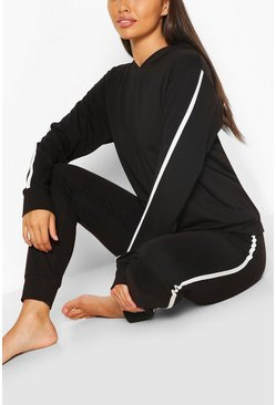 Black Side Stripe Hoodie And Jogger Lounge Set