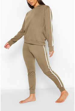 Khaki Side Stripe Hoodie And Jogger Lounge Set