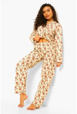 Cream white Reindeer Brushed Cotton PJ Trouser Set