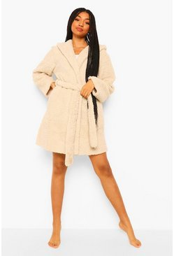 Beige Pom Pom Ear Fleece Robe