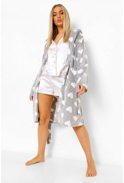 Grey Heart Print Luxury Fleece Robe
