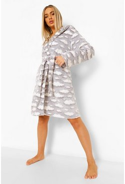 Grey Cloud Print Luxury Fleece Robe