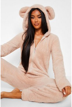 Beige Fleece Ear Onesie