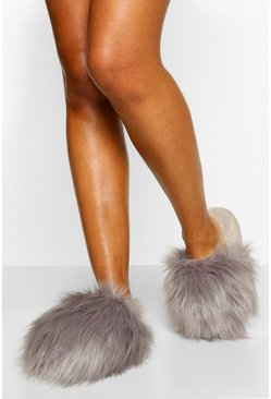 Grey Extra Fluffy Slippers