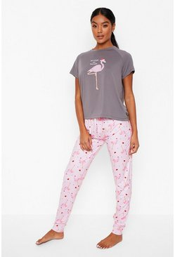 Grey Flamingo T Shirt and Leggings Christmas Pyjama Set