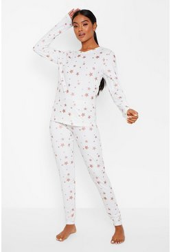 Pink Metallic Star Print PJ Trouser Set