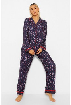 Blue Candy Cane Button Up and Trouser Christmas PJ Set