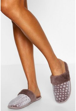 Grey Star Embossed Velvet Slippers