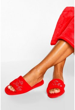 Red Santa Baby Embroidered Slippers with Gift Bag