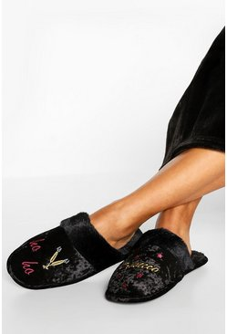 Black Prosecco Ho Ho Crushed Velvet Slippers