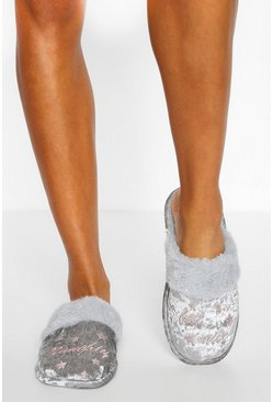 Grey Naughty But Nice Crushed Velvet Slippers