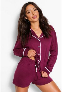 Plum purple Jersey Button Through PJ Short Set