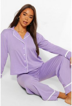 Lilac Jersey Button Through PJ Trouser Set