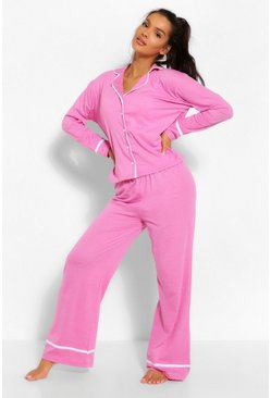 Candy pink Jersey Button Through PJ Trouser Set