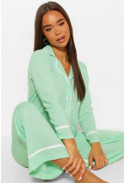 Mint green Jersey Button Through PJ Trouser Set
