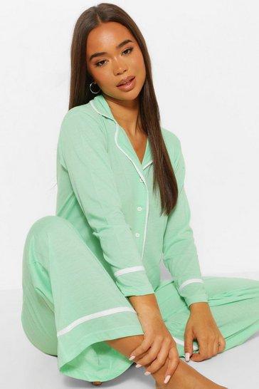 Mint green Jersey Button Through PJ Trouser Set