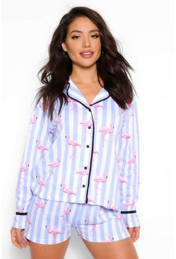 Blue Flamingo Candy Stripe PJ Short Set