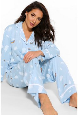 Blue Rainbow Cloud Jersey PJ Trouser Set