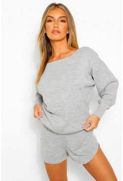 Grey Knitted Lounge Short Set