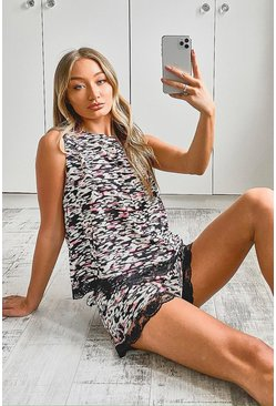 Pink Animal Print Lace Detail PJ Short Set