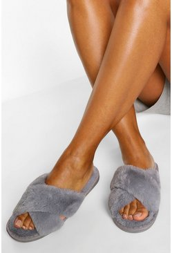 Grey Fluffy Cross Front Slippers