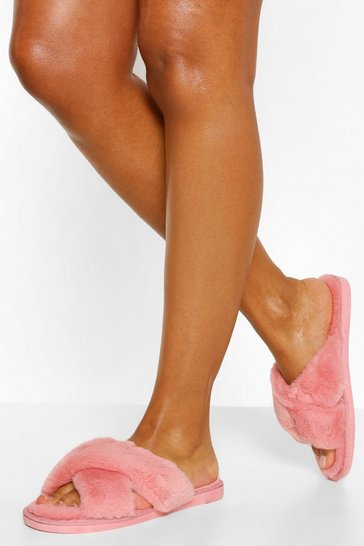 Pink Fluffy Cross Front Slippers