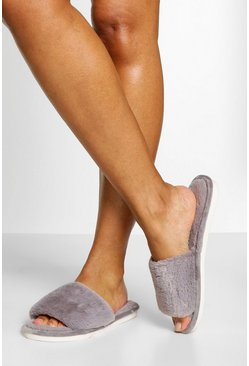 Grey Fluffy Slider Slipper