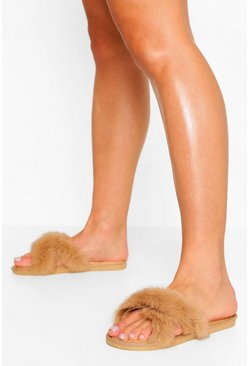 Beige Extra Fluffy Cross Over Faux Fur Slippers