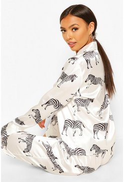 Zebra Print Satin 5 PC Nightwear Set, White blanco