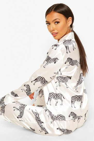 White Zebra Print Satin 5 PC Nightwear Set