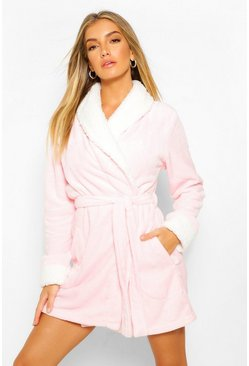 Blush pink Contrast Cuff Short Robe