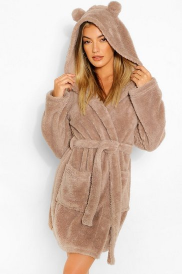 Toffee beige Fluffy Bear Ear Robe