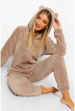 Toffee beige Fluffy Bear Ear Onesie
