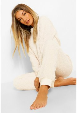 Cream white Fleece Crop Lounge Set