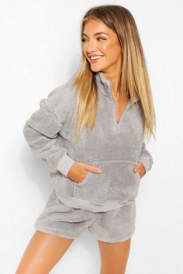 Grey Mix and Match Fleece Zip Up Lounge Top
