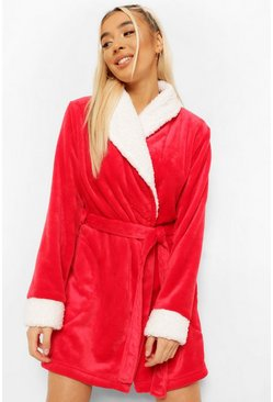 Red Contrast Cuff Short Robe