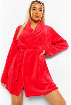 Red Basic Short Robe
