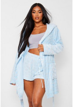Blue Glitter Cloud Fleece Robe