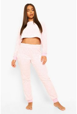 Pink Texture Heart Fleece Lounge & Mask Set