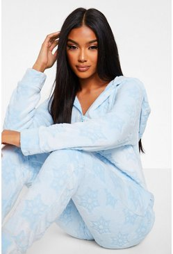 Blue Burnout Snowflake Fleece Onesie