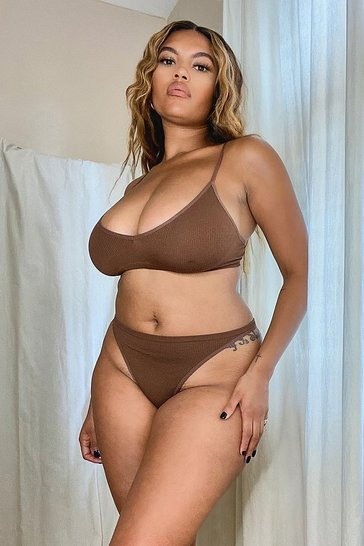 Chestnut brown Ribbed Seamless Triangle Bralette
