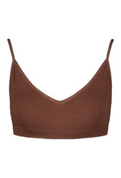 Chestnut Ribbed Seamless Triangle Bralette