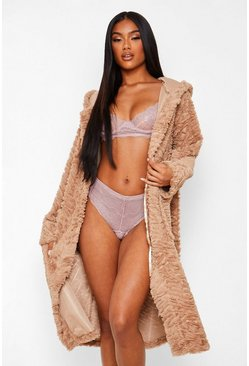 Toffee beige Rippled Textured Fur Longline Robe