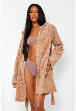 Toffee beige Ripple Textured Fur Robe
