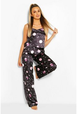 Black Celestial Satin Cami And Trouser Pyjama Set