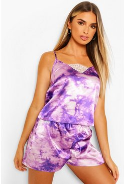 Ensemble short et caraco bordé de dentelle tie dye en satin, Violet