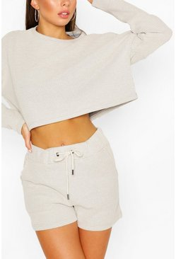 Stone beige Waffle Slouch Lounge Top