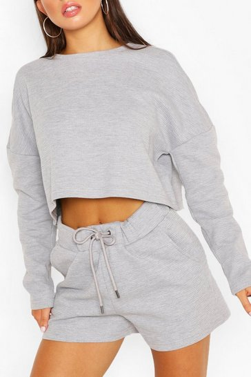 Grey Waffle Slouch Lounge Top